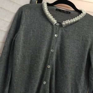 Zara Knit Angora Blend Pearl Collar Lined Cardigan